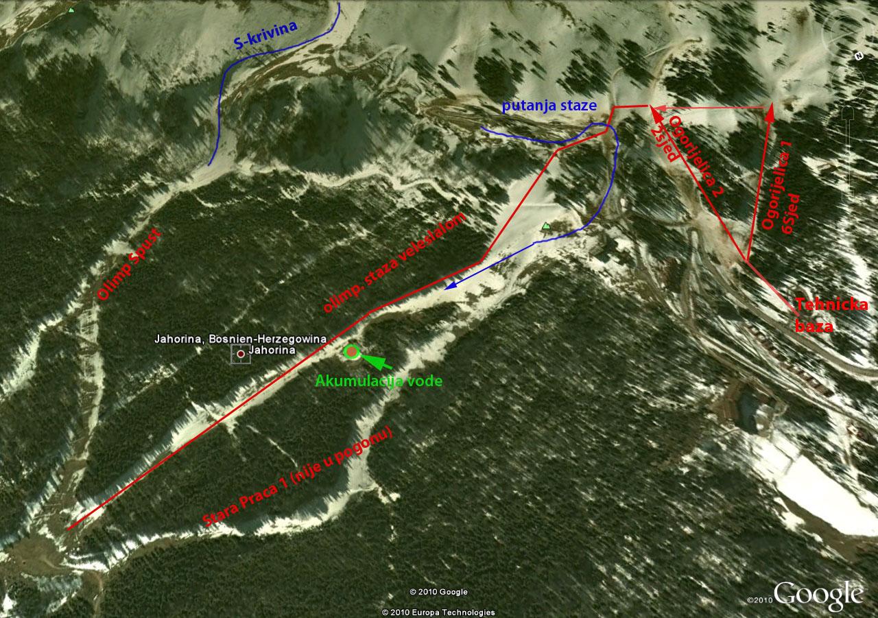 Mapa sistema osnjezavanja na stazam Jahorine